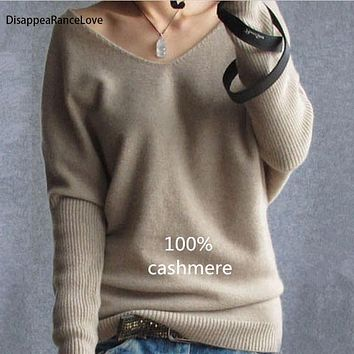 DisappeaRanceLove Brand winter cashmere sweater women fashion sexy v-neck sweater loose 100%wool sweater batwing sleeve pullover