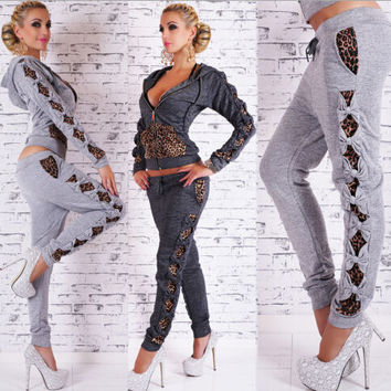 FASHION LEOPARD ZIPPER TWO-PIECE