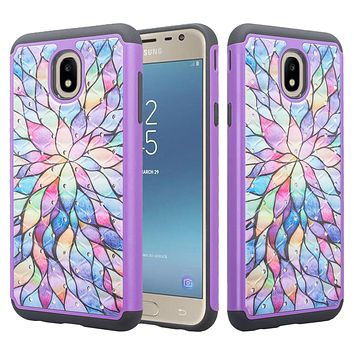 Samsung Galaxy J7 V 2nd Gen, J7 2018, J7 Star, J7 Refine, J7 Aero, J7 Aura, J7 Eon, J7 Pro SM-J730GM/DS, J7 Top, J7 Crown Case, Slim Crystal Rhinestone Dual Layer [Shock Resistant] Protective Cover - Rainbow Flower