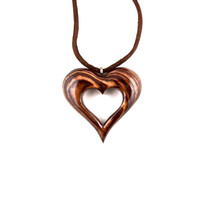 Wooden Heart Necklace, Wood Heart Pendant, Heart Necklace, Hand Carved Pendant, 5th Anniversary Gift, Wood Necklace, Heart Jewelry