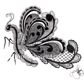 Butterfly ink drawing, butterfly, wings, zentangle, zendoodle, original art