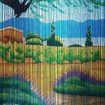 Bamboo door curtain with countryside scene