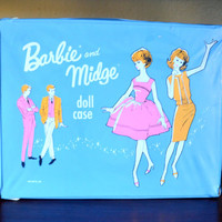 Vintage Barbie and Midge Doll Case, 1963 Mattel Inc, Large Doll Carrying Case or Wardrobe Trunk