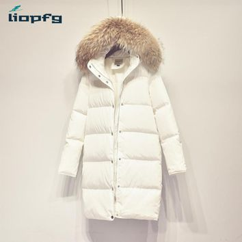 Brand ladies white coat female 2017 new large bristles thickening winter down jacket women high quality warm loose coat WM431