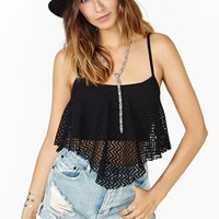 Summer Again Crop Tank - Black