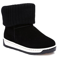 Black Snow Boots With Suede and Knitting Design