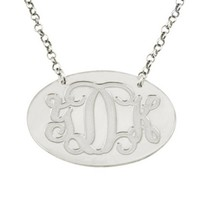 Silver Oval Monogram Necklace