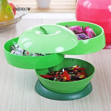 2017 New Creative Food Storage Box Home Plastic Apple Shaped Three Layers Rotatable Melon Seeds Candy Box Fashion Candy Box