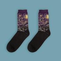 Vincent van Gogh's Starry Night Socks | Purple