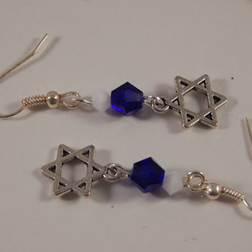 Star of David earrings with swarovski crystals, bat mitzvah or Hanukkah gift, Jewish religious jewelry - Rosh Hashana, Yom Kippur, Purim