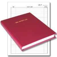 "BookFactory® Daily Activity Log Book / 365 Day Log Book (384 Pages - 8 7/8"" x 11 1/4"") / 365 Page Diary, Red Cover, Smyth Sewn Hardbound (LOG-384-DAY-A-LRRT32)"