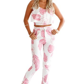 Chicloth Pink Mottled Print Frill Crop Top and Pant Set