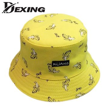 [Dexing ] Yellow banana Panama sad boy bucket hat black street Bucket Hats men Hip Hop skateboard cotton letter Fashion Bob Caps
