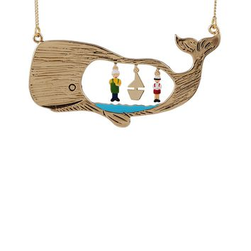 N2 by Les Néréides GOLDEN TALES PINOCCHIO AND GEPETTO TRAPPED IN A WHALE LONG NECKLACE