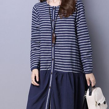 Casual Round Neck Slit Pocket Striped Button Through Shift Dress