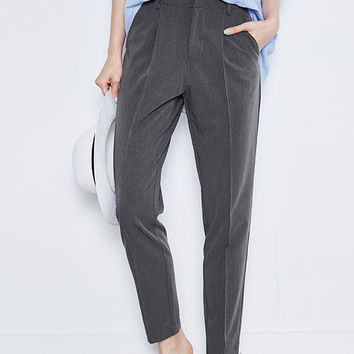 Mid Waist Straight Crop Pants