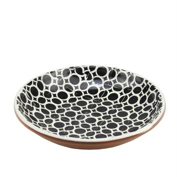 Basic Luxury Decorative Black Circles on Lily White Terracotta Bowl 12.25""