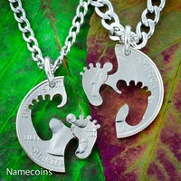 Baby Feet New Parents Necklaces, hand cut coin