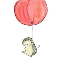 Children's Art My Red Balloon Hegdehog 8X10 by trafalgarssquare