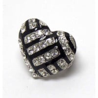 "Crystal ""Bling"" Heart Volleyball Stretch Ring"
