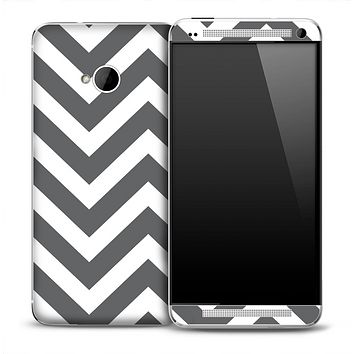 Large Dark Gray and White Chevron Pattern Skin for the HTC One Phone