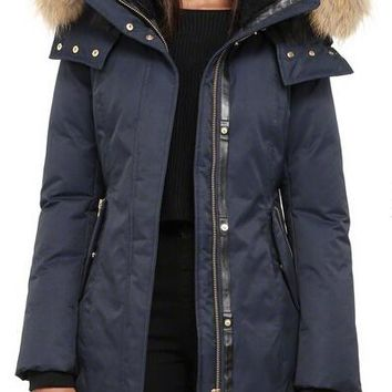 Mackage women kerry  long winter down coat with fur hood jacket/dark blue