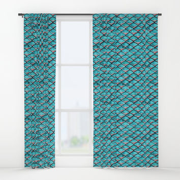 Teal blue and coral pink arapaima mermaid scales Window Curtains by savousepate