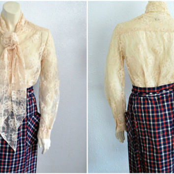 Vintage Cream Lace Blouse with Neck Tie by mandylopandy on Etsy