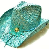 Turquoise flower cowboy hat
