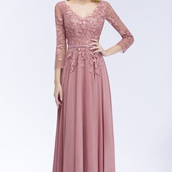 Dusty Pink Evening Dresses Chiffon Appliques Designs 3/4 Sleeve Prom Gowns Bride Banquet Wedding Party Dresses