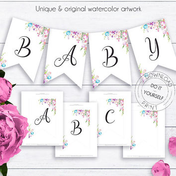 Baby Shower Floral Bunting, Boho Arrow Bunting, DIY Party Watercolor Banner, Printable Decor Bunting Flags, Baby Party Banner, Shower Banner