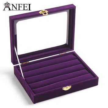 Free shipping purple ring jewelry box glass cover ring storage box stud earring box earring jewelry accessories display rack