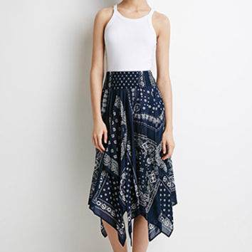 Smocked Bandana Print Skirt