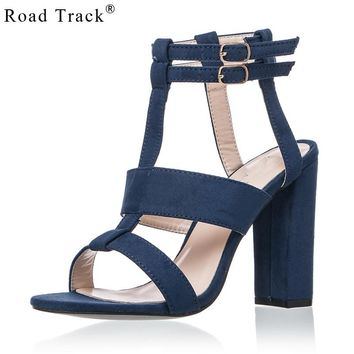 Road Track Summer Solid Suede Ankle Buckle Strap Women's Sandals High Heels 10 cm Concise Design INS Trendy Popular Women Shoes