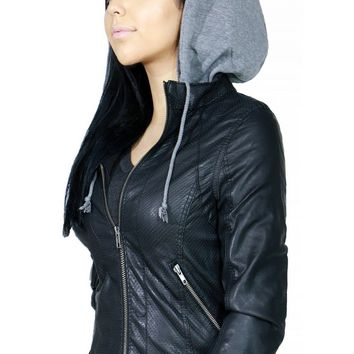 Zip Up Stylish Faux Leather Bomber Jacket with Hoodie for Women