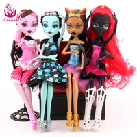UCanaan Fashion Dolls 4 pcs/set Draculaura/Clawdeen Wolf/ Frankie Stein / Black WYDOWNA Spider Moveable Body Girls Toys Gift