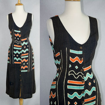 Vintage 90s Tribal Batik festival Duster Dress