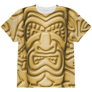 Tiki God Gold Face Luau All Over Youth T Shirt