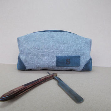 Groomsmen, Canvas dopp kit, Makeup, Shaving case, Toiletry bag, Leather pouch, Travel bag, Personalized case, Mens gift, Gray waxed canvas,