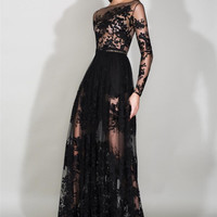 Black Zuhair Murad Evening Dresses With Sheer Long Sleeves Appliques Red Carpet Lace Prom Dress See Through Celebrity Gowns