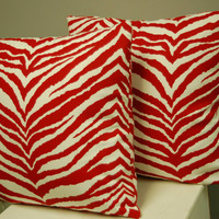 Set of 2 Red White Tiger Print Decorative Pillow Covers