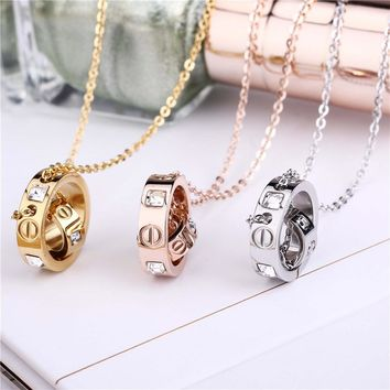 Stainless Steel Womens Necklace Pendant Women Crystal Gold Rose Gold Silver Colors