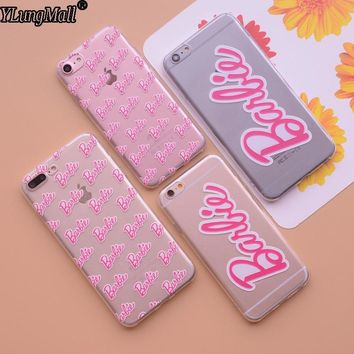 New Lady Cases Fundas Coque for iphone 7 7plus 6 6s 6plus Case Relief Pink Barbie Words Girls Soft TPU Cover Phone Cases