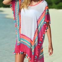 Seafolly Soundwave Drummer Kaftan in Peppermint - Buy this beautiful mint Beach Coverup at Coco Bay with Next Day Delivery and Free UK Returns/Exchanges