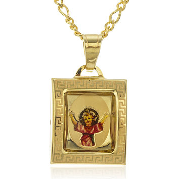 10k Yellow Gold Baby Jesus Enamel Pendant with an 18 Inch Gold Layered Figaro Necklace