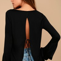 Let It Be Me Black Long Sleeve Top