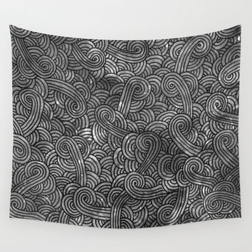 Grey and black doodles Wall Tapestry by Savousepate