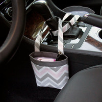 PHONE CAR CADDY, iPhone Case, Gray and Pink Chevron, Sunglass Car Caddy, Cell Phone Holder, Sunglass Case