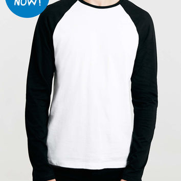 White/Black Contrast Raglan Long Sleeve T-Shirt - TOPMAN USA