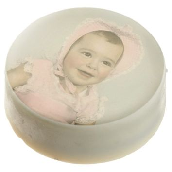 Girl Baby Shower Vintage Baby Photo Chocolate Dipped Oreo